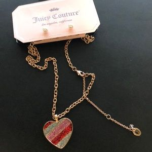 Juicy Couture Heart Charm Necklace Set